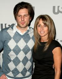 James Roday and USA Network President Bonnie Hammer at the USA Network Upfront.