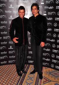 Javed Jaffrey and Sonu Sood at the premiere of