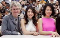 Christopher Doyle, Charlie Young and Carina Lau at the 60th International Cannes Film Festival .