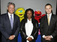 Whoopi Goldberg, Gary E. Knell and Harold Ford at the United Nations International School at a press conference to announce a new worldwide initiative