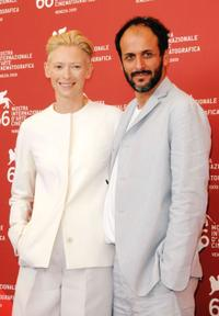 Tilda Swinton and Luca Guadagnino at the photocall of