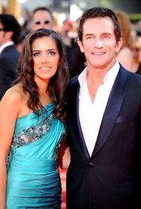 Sheetal Sheth and Jeff Probst at the 61st Primetime Emmy Awards.