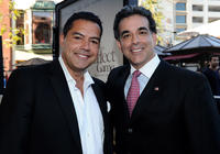 Carlos Gomez and Latino Coalition's Hector Barreto at the California premiere of