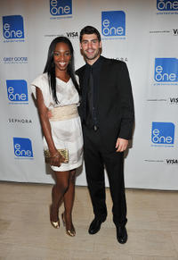 Enuka Okuma and Travis Milne at the E1 Entertainment party during the 35th Toronto International Film Festival.
