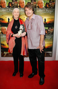 Jane Goodall and director Lorenz Knauer at the photocall of