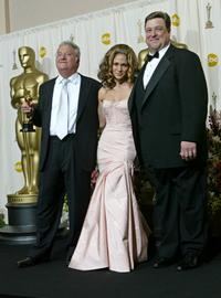 John Goodman, Randy Newman and Jennifer Lopez at the 74th Annual Academy Awards.