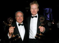 Producer Lorne Michaels and Conan O'Brien at the 59th Annual Emmy Awards.