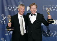 Mike Sweeney and Conan O'Brien at the 59th Annual Emmy Awards.