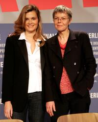 Marina Hands and Pascale Ferran at the press conference of