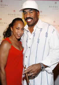 Marjorie Bridges and Steve Harvey at the first night of the Bermuda Music Festival.