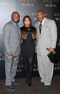 Steve Stoute, Marjorie Bridges-Harvey and Steve Harvey at the Gucci cocktail party for Ffawn.