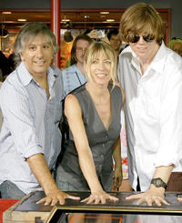 Lee Ranaldo, Kim Gordon and Thurston Moore at the Sonic Youth band's induction into Hollywood's RockWalk.