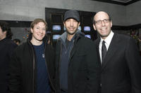 Joe Sikora, David Schwimmer and chairman & CEO of Showtime Networks Inc. Matthew C. Blank at the Showtime Networks Previews