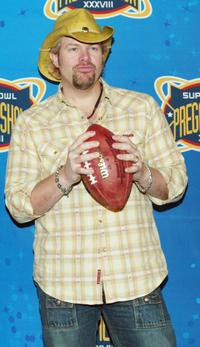 Toby Keith at the pre-game press conference for Super Bowl XXXVIII.