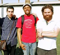 Brent Weinbach, Jasper Redd and Zach Galifianakis at the Coachella Music Festival.