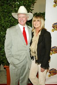 Linda Gray and Larry Hagman at the Warner Bros. TV and Warner Home Video's 50 Years of Quality TV celebration.