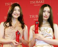 Yuko Takeuchi and Yukie Nakama at the press preview to introduce the comercial campaign models for Japanese cosmetics giant Shiseido's new hair care brand