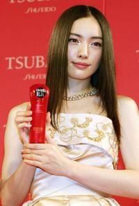 Yukie Nakama at the press preview to introduce the comercial campaign models for Japanese cosmetics giant Shiseido's new hair care brand