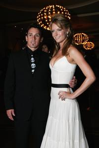 Carey Hart and Jennifer Hawkins at the Australian Formula One Grand Prix.