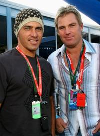 Kelly Slater and Shane Warne at the 2007 FORMULA 1TM ING Australian Grand Prix.