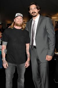 Mike Vallely and George Parros at the 2007 NHL Stanley Cup Finals between Ottawa Senators and Anaheim Ducks.