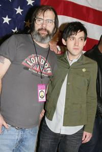 Steve Earle and Conor Oberst of Bright Eyes at the press conference to unveil the