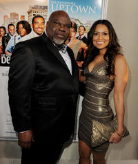 T.D. Jakes and producer Tracey Edmonds at the California premiere of
