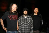 Jonathan Davis, Reginald 'Fieldy' Arvizu and James 'Munky' Shaffer at the Korn's Family Values Tour 2007 Kickoff Party.