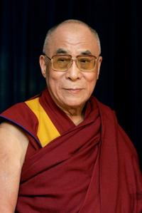The Dalai Lama (XIV) at the Frankfurt airport in Germany.