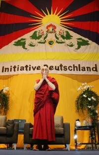 The Dalai Lama (XIV) at the speech on human rights and globalization.