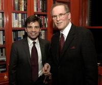 Charles Grodin and George Stephanopoulos at the party to celebrate the publication of the new book