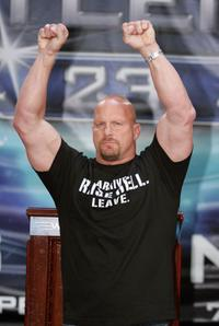 Stone Cold Steve Austin at the press conference held by Battle of the Billionaires to announce the details of Wrestlemania 23.