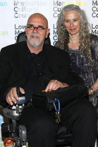 Chuck Close and Kiki Smith at the LMCC Downtown Dinner.