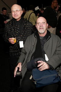 Designer Zac Posen's father and Chuck Close at the Zac Posen fashion show during the Olympus Fashion Week.