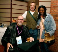 Chuck Close, Stephen Hannock and Whoopi Goldberg at the 2007 Tribeca Film Festival.