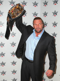 Triple H at the WrestleMania 25th Anniversary Press Conference in New York.