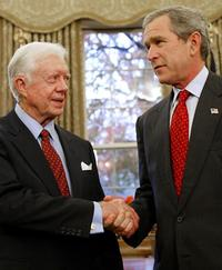President Jimmy Carter and President George W. Bush at the White House in Washington.