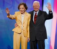 Rosalynn Carter and President Jimmy Carter at the Democratic National Convention.