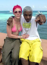 Singer Pink and Sisqo at the photo shoot of MTV's Spring Break 2000.