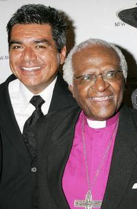 George Lopez and Desmond Tutu at the gala fundraiser in celebration of the archbishop's 75th birthday.