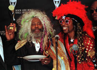 George Clinton and Bootsy Collins at the press conference in Cleveland.