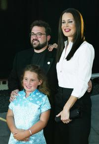 Writer/Director Kevin Smith, his wife Jennifer Schwalbach Smith and their daughter Harley at the premiere of