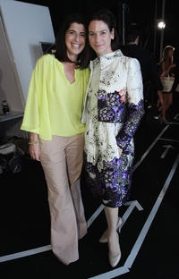 Designer Dorothee Schumacher and Bibiana Beglau at the Mercedes-Benz Fashion Week Berlin Spring/Summer 2012.