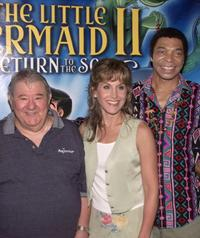 Buddy Hackett, Jodi Benson and Samuel E. Wright at the premiere of