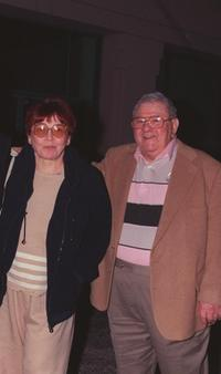 Buddy Hackett and his wife at the memorial service for the late entertainer Steve Allen.