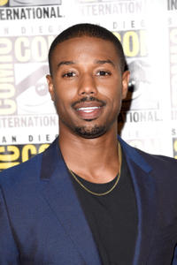 Michael B. Jordan at the 20th Century Fox press room during Comic-Con International 2015.
