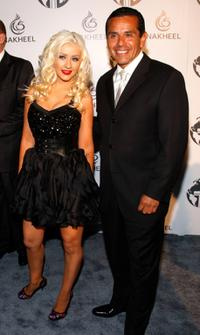 Christina Aguilera and Antonio Villaraigosa at the Nakheel Introduces Trump International Hotel and Tower Dubai party.