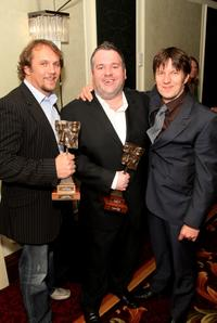 Dean Andrews, Marshall Lancaster and Chris Moyles at the Television And Radio Industries Club Ceremony 2008.