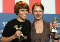 Maren Ade and Birgit Minichmayr at the Award Winners press conference during the 59th International Berlinale Film Festival.