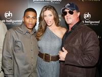 Nelly, Jennifer Flavin and Sylvester Stallone at the premiere of